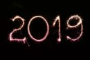 2019 writen in sparkler light on a black background