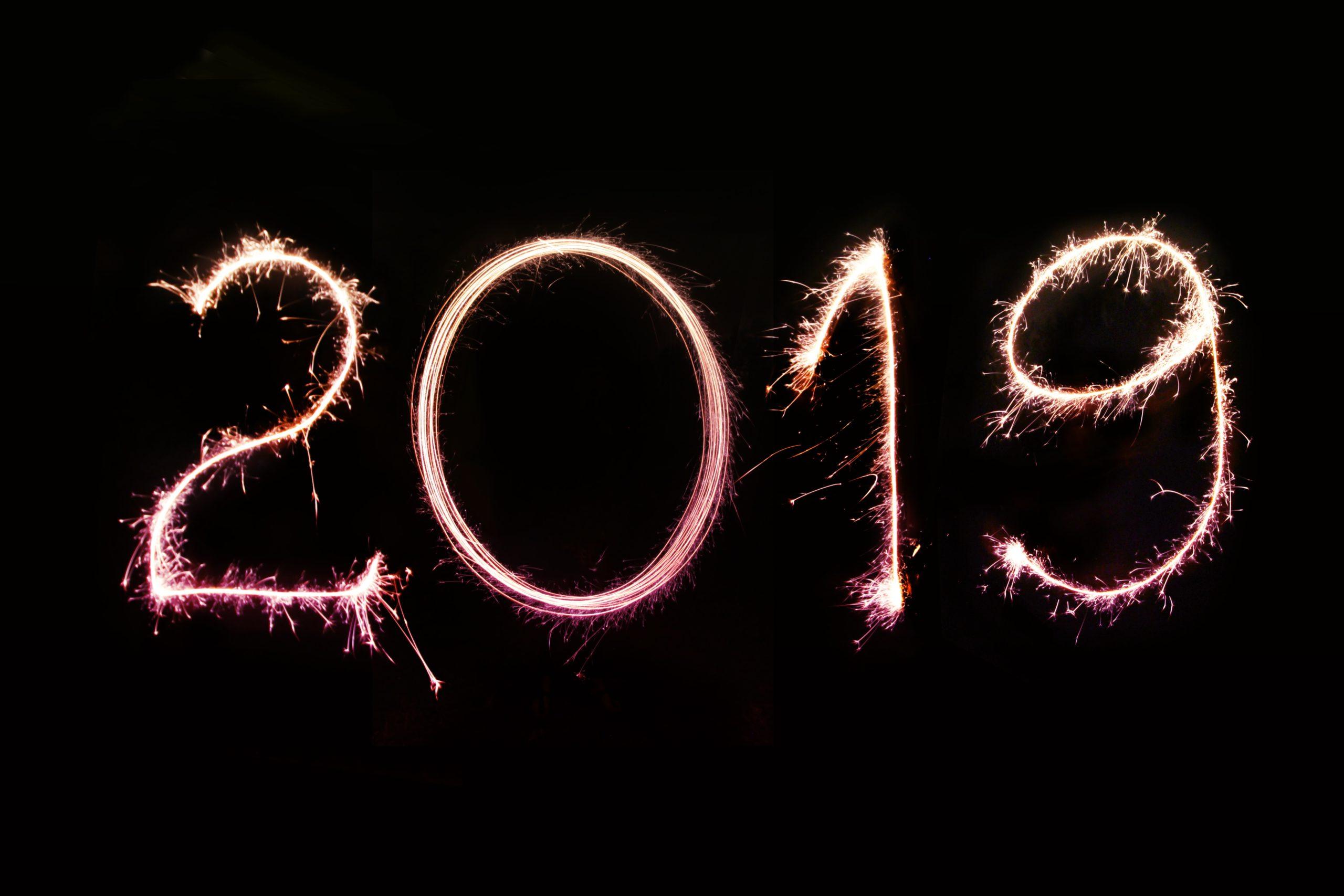 2019 writen in sparkler light on a black background