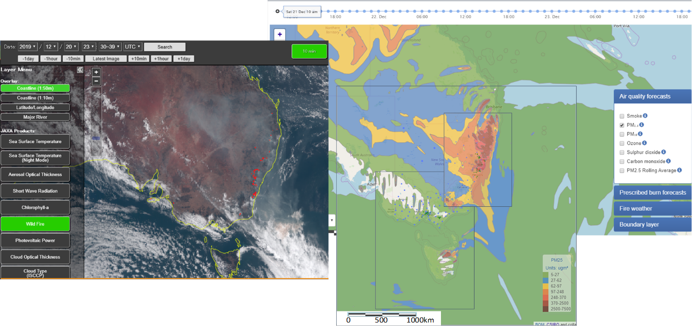 Visible satellite image taken by Himawari-8 (left); AQFx combined fine particle forecast for Vic-Tas and NSW domains (right)