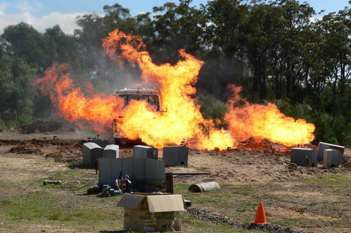 Burnover testing on a firetruck