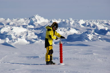 Researcher Jess Melbourne-Thomas taking a sea ice core to measure phytoplankton abundance in East Antarctica.