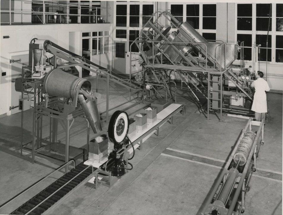 Cheesemaking machine photographed in B&W