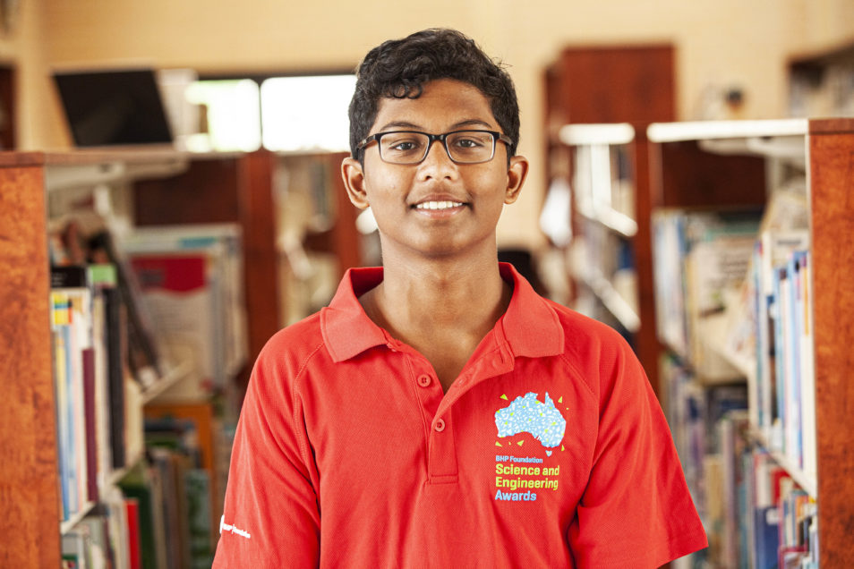 Gokulraj Kuppusamy from Redeemer Baptist School in North Parramatta, NSW. BHP Foundation Science and Engineering Awards 2020.