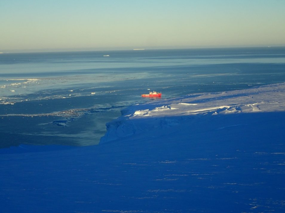A research vessel pictured in Antarctic waters near the Getz ice shelf front.
