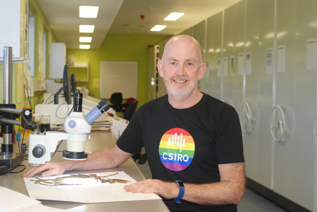 Male wearing a black tshirt with a rainbow CSIRO logo on the chest. He's looking at some diagrams with a microscope on his right hand side.