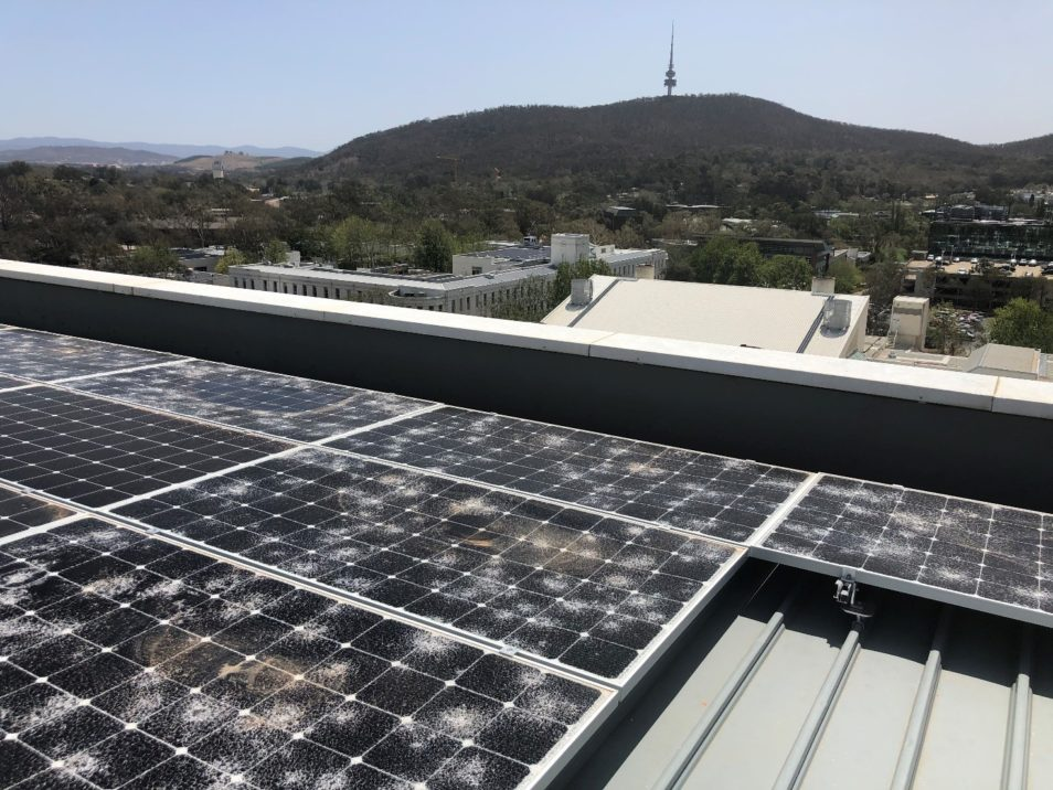 hail damage to solar panels in Canberra.