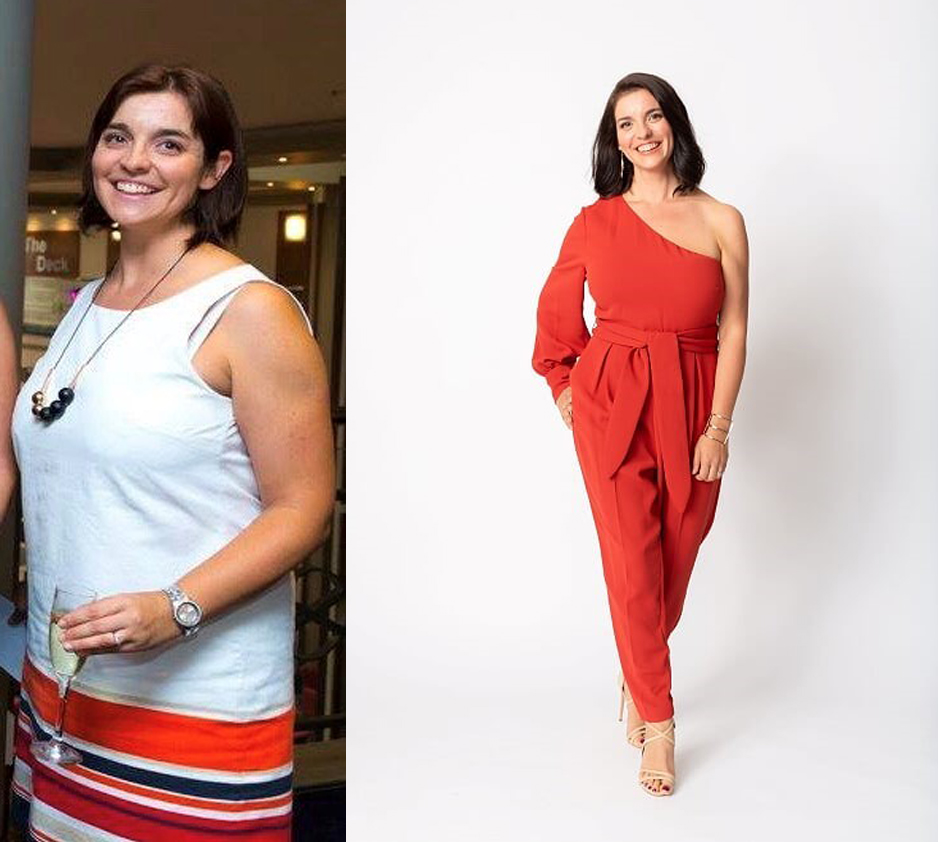 A side by side of a young woman smiling at the camera. In the left, she is side on holding a glass of champagne and wearing a white tank. In the right she is facing front on and wearing an off shoulder red jumpsuit and heels.