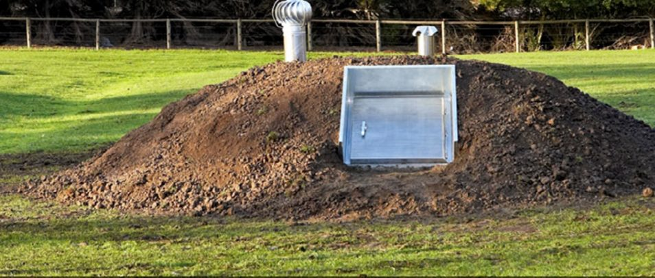 Accredited bunkers shown in the ground after being installed.