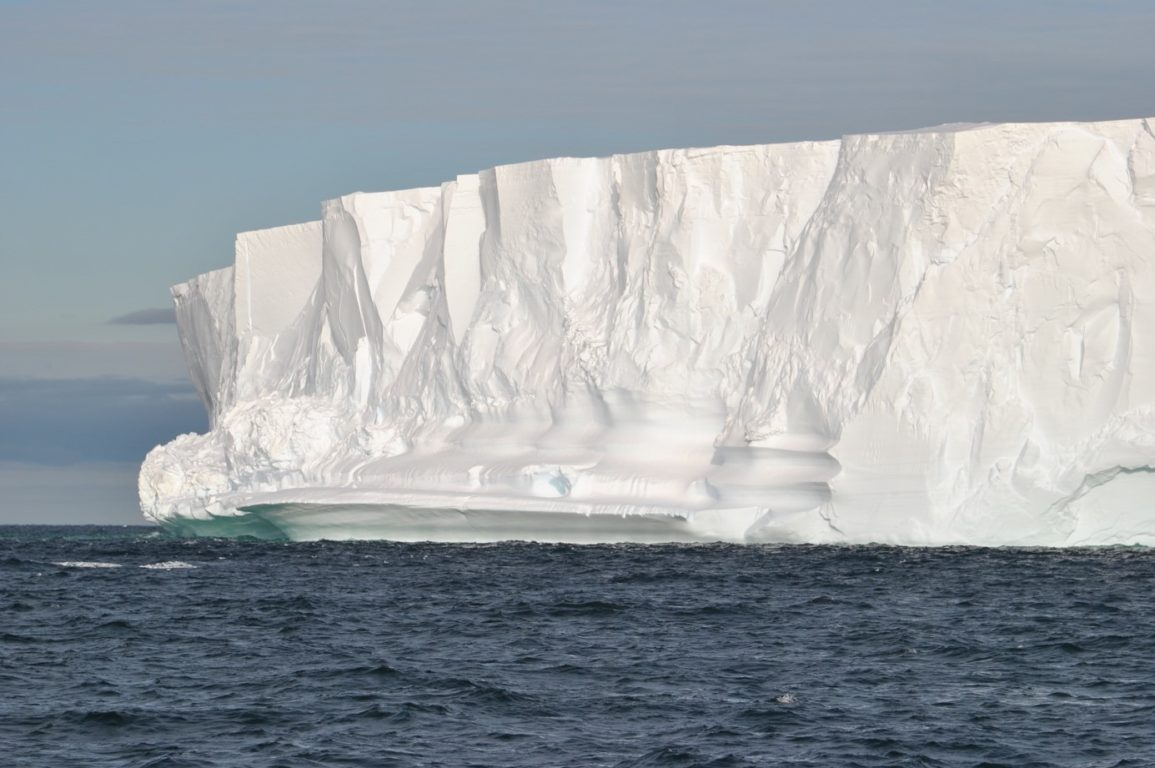 A white wall of ice, known as the Getz iceshelf front.