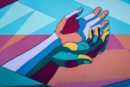 Artwork of coloured hands reaching out. A show of resilience in tough times.