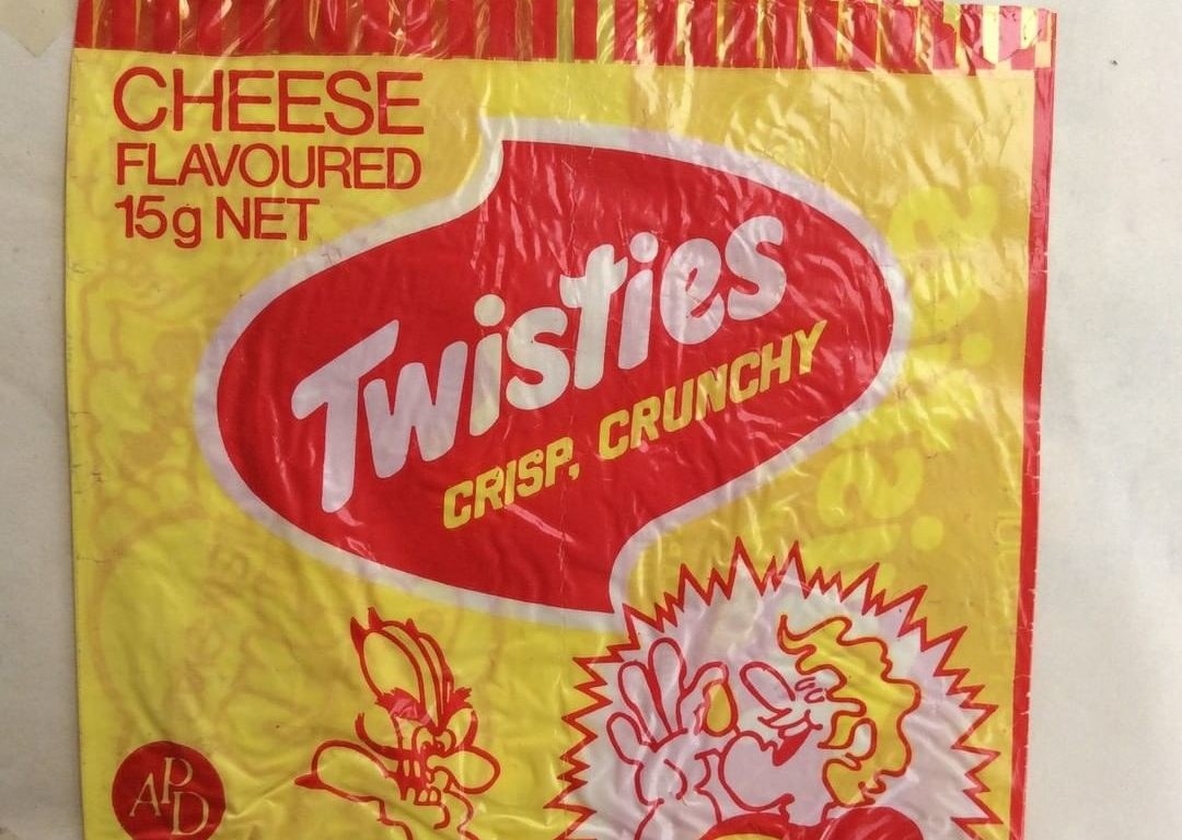A retro yellow and red packet of Twisties.