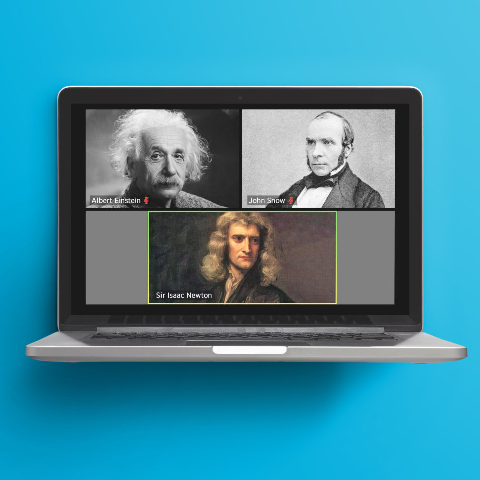 pictures of Albert Einstein, John Snow and Sir Isaac Newton on a computer screen