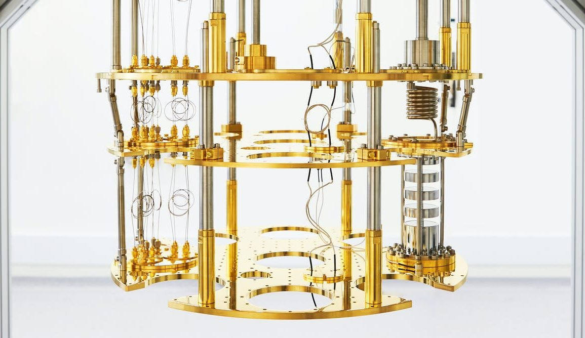 gold chandelier looking quantum computer