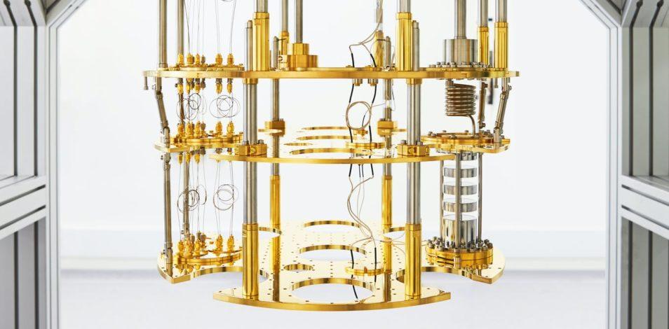 gold chandelier looking quantum computer
