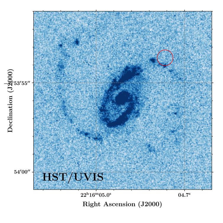The red circle marks the exact spot that produced a fast radio burst in a galaxy billions of light-years away.