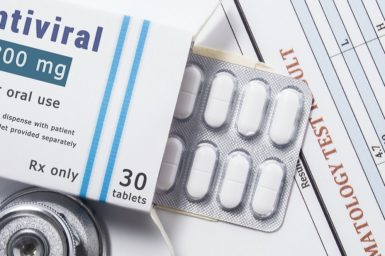 A packet of antivirals with the tablets showing
