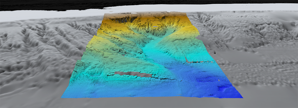A rainbow visualisation of the Bremer Canyon.