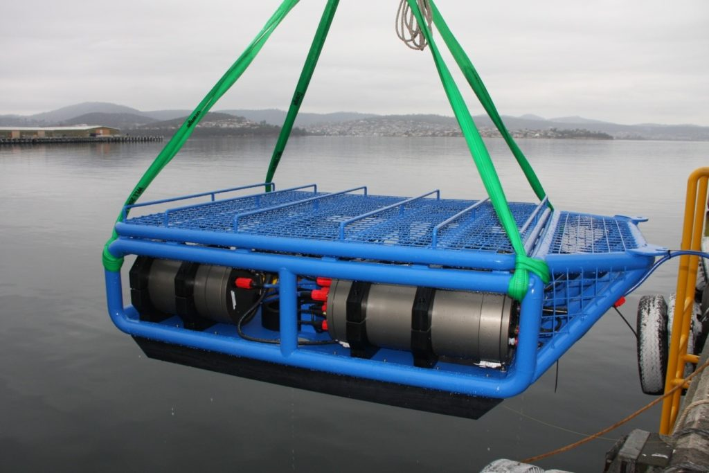 new Acoustic Optical System being deployed off a ship for ocean exploration