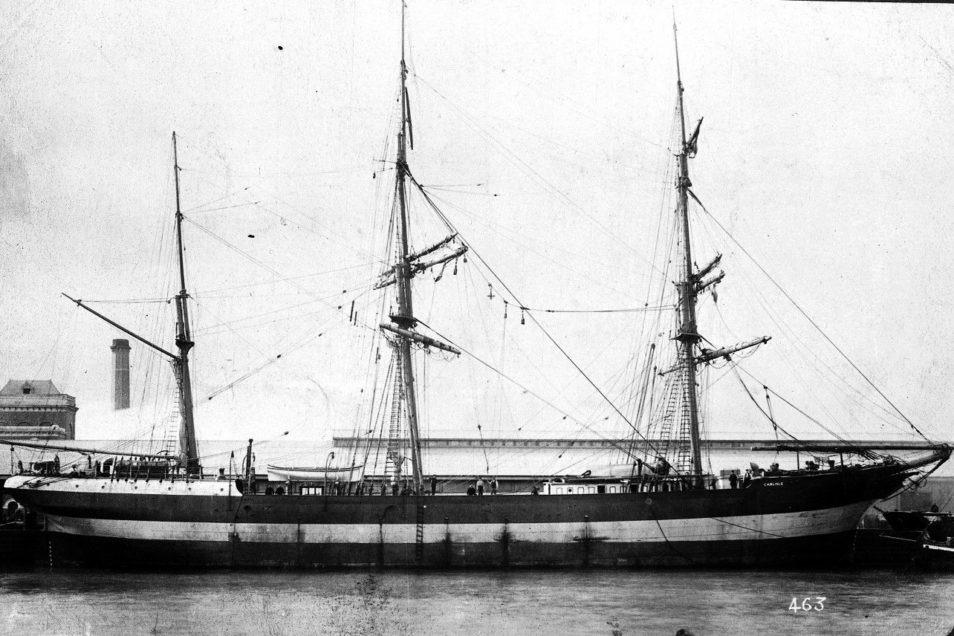 A black and white photo of a ship. This is sailing vessel Carlisle.