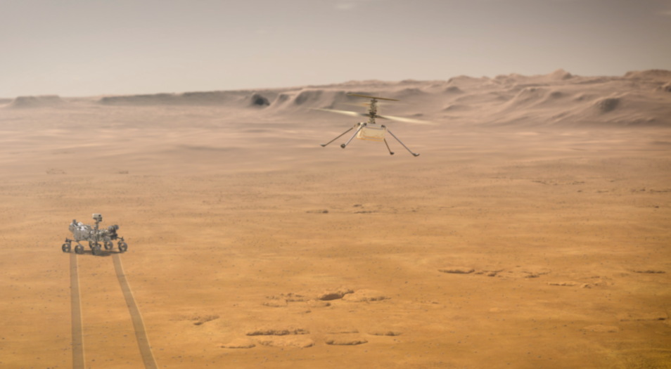 Artists impression of NASA's Ingenuity Mars helicopter flying over the surface of Mars