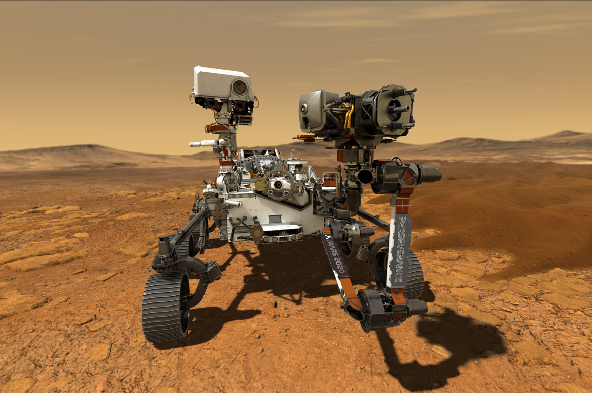 Illustration of NASA's Perseverance rover operating on the surface of Mars