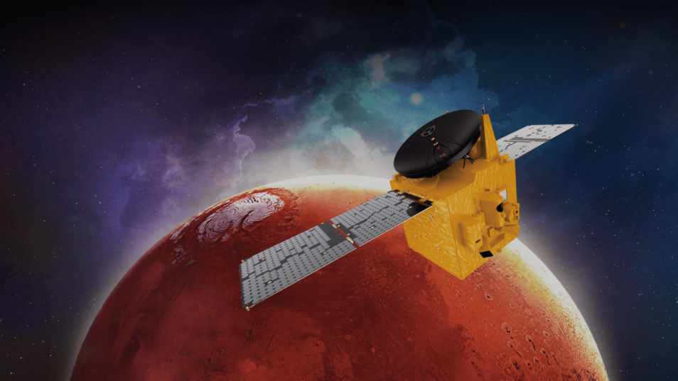 Yellow box-like spacecraft travel to mars with red planet in the background