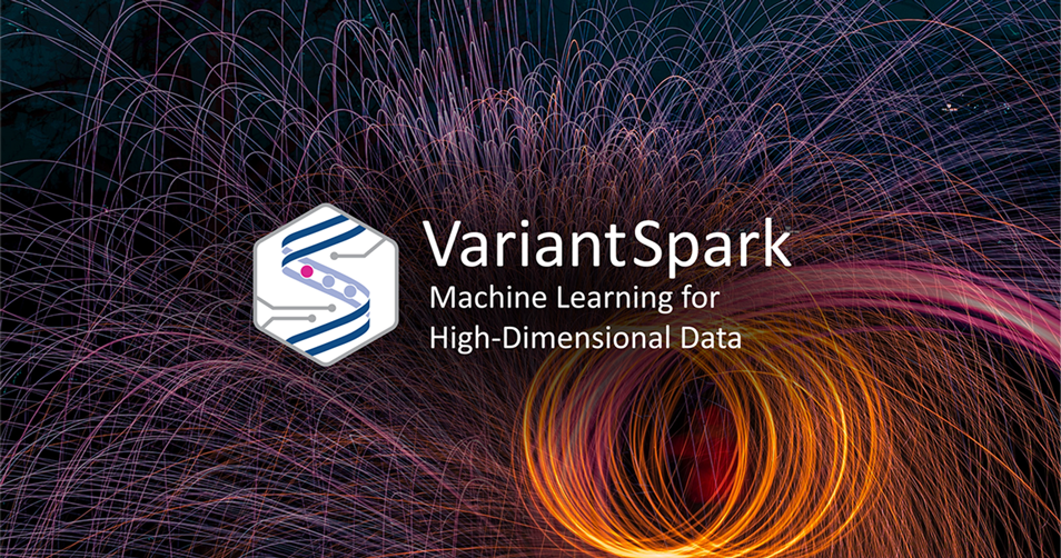 A timelapse photo shows sparks flying with the VariantSpark logo edited in front