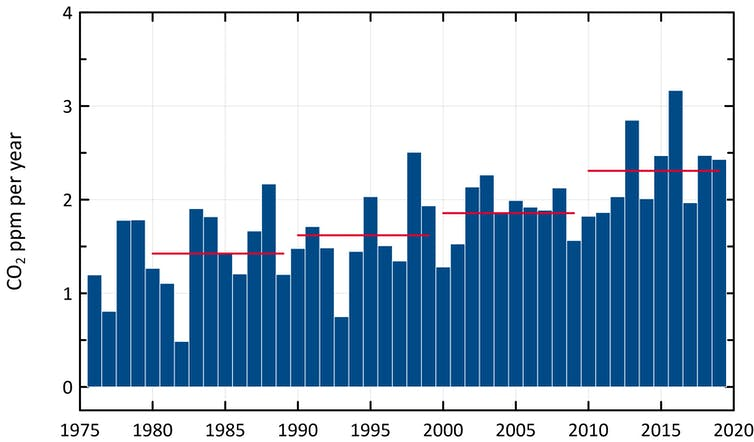 Growth in emissions at Cape Grim since 1976.