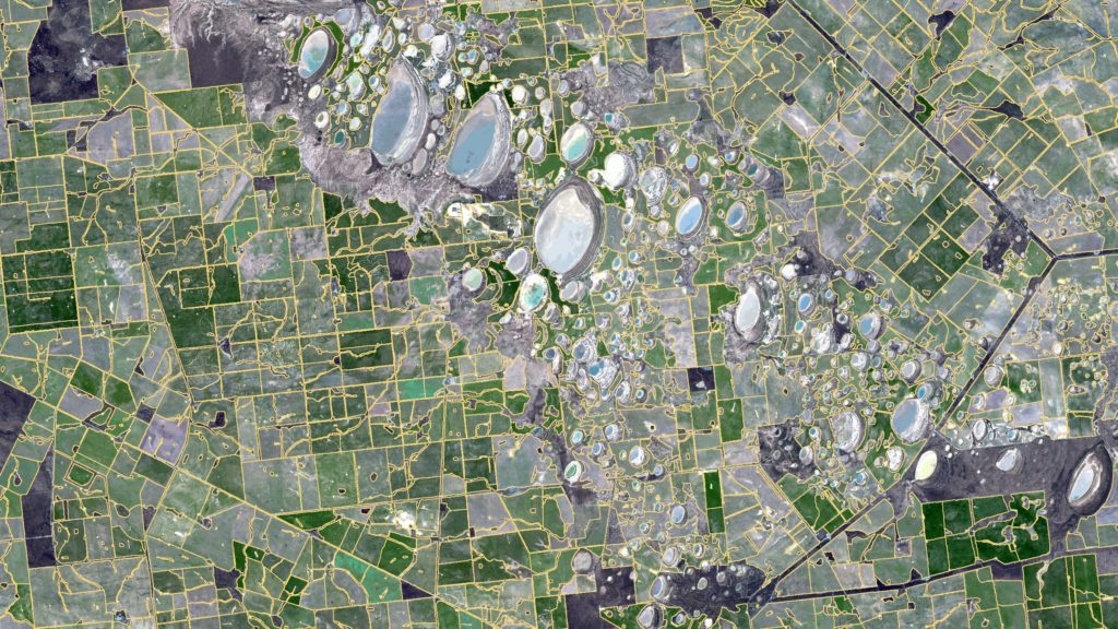 Satellite image of paddocks in Western Australia overlaid with boundaries from our farm mapping software ePaddock