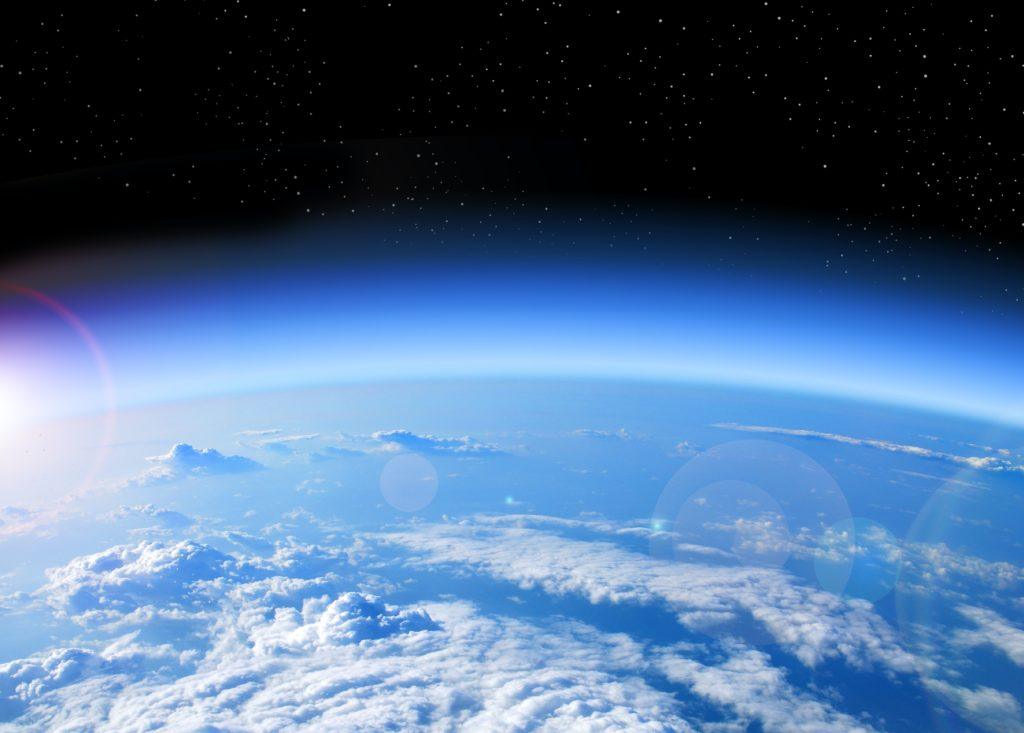 A space shot representing the emissions in the atmosphere