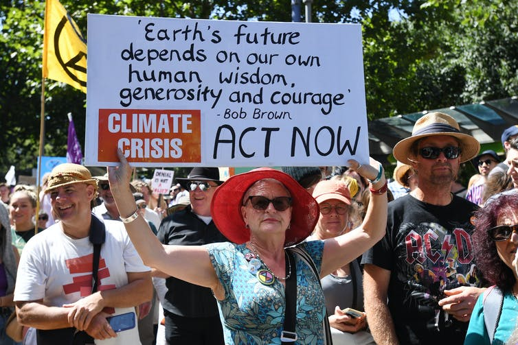 Woman protesting for climate change action