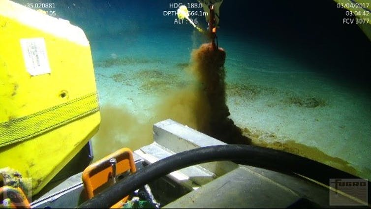 A robot collected samples from underwater.