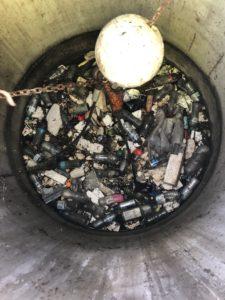 Plastics in a bin
