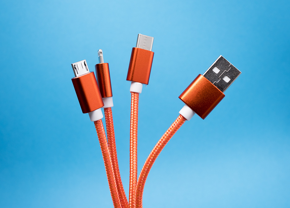 Cables for a range of phones that use lithium-ion batteries and produce waste