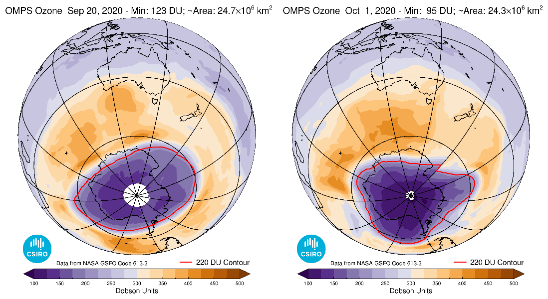 Graphic showing the size and location of the ozone hole at its maximum area and minimum ozone column amount in 2020.