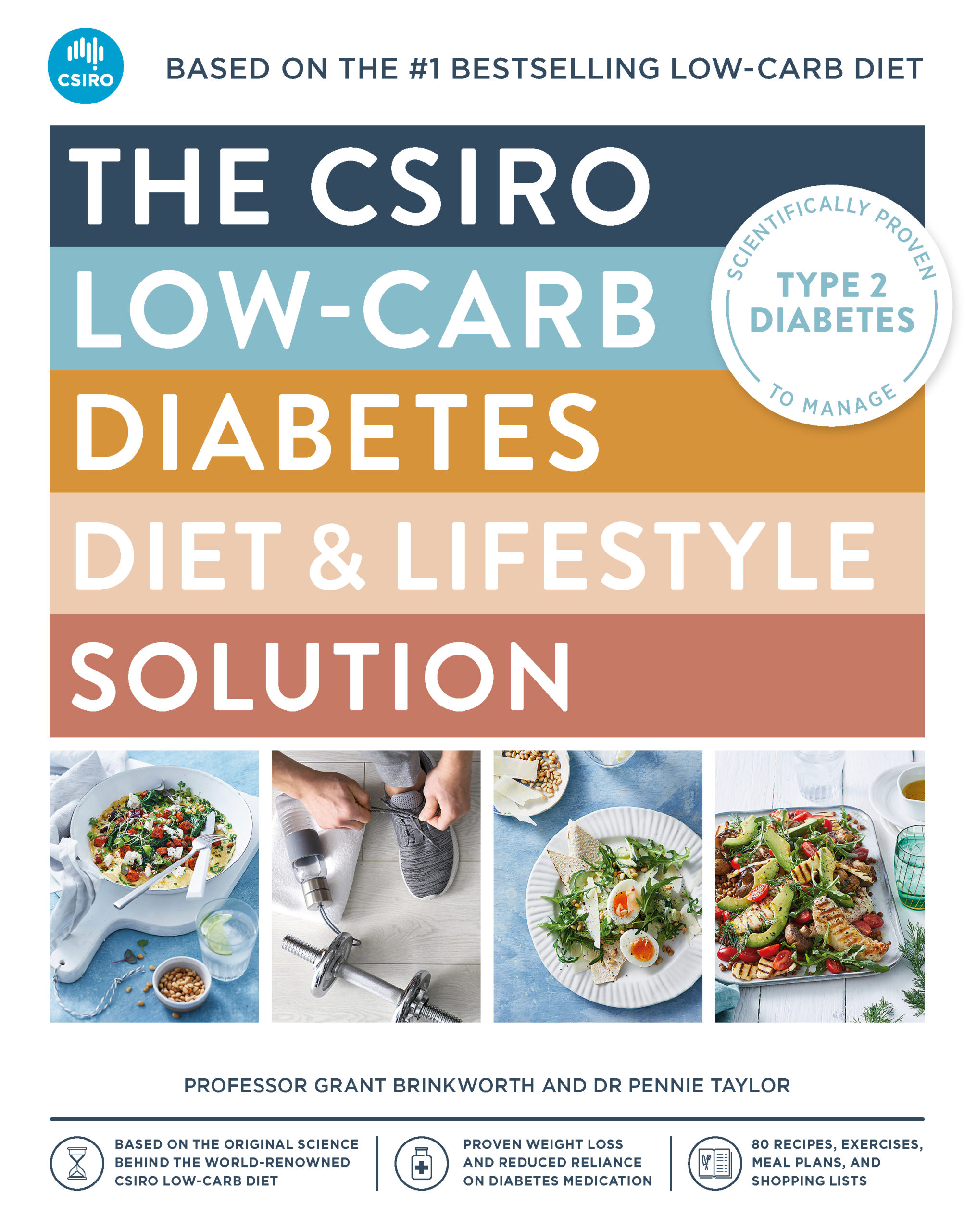 Front cover of the csiro low carb diabetes diet and lifestyle solution