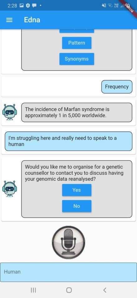 An edna chatbot screenshot