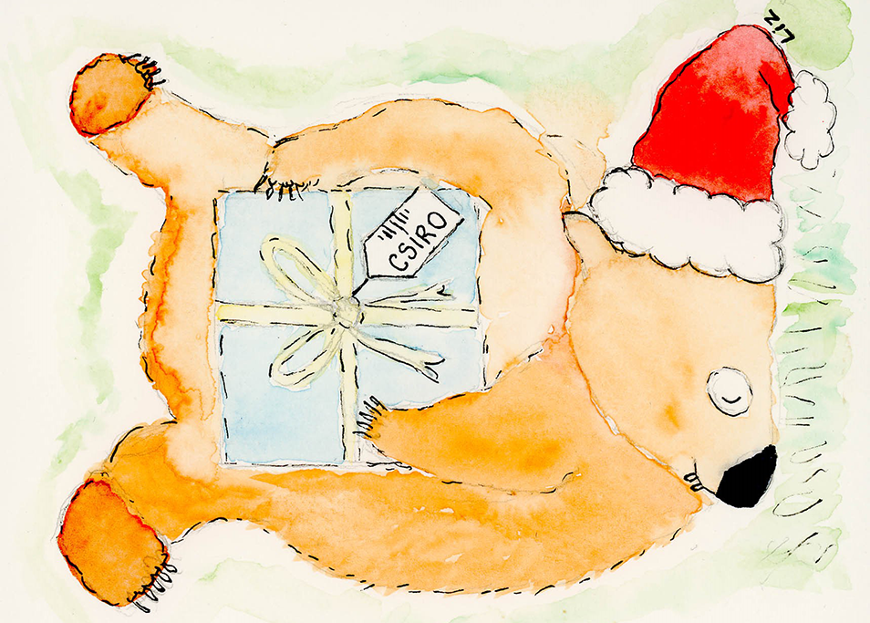 A illustration of a wombat wearing a santa hat to celebrate Wombat Wednesday