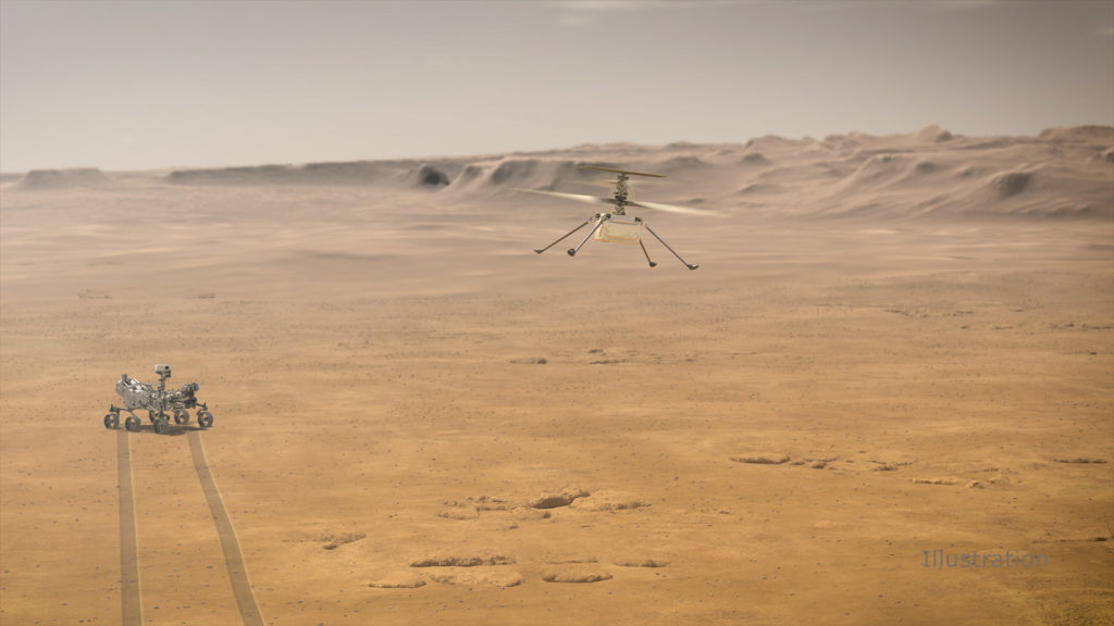 An artist impression of NASA's Ingenuity Mars Helicopter on Mars. Part of NASA's mission to Mars.