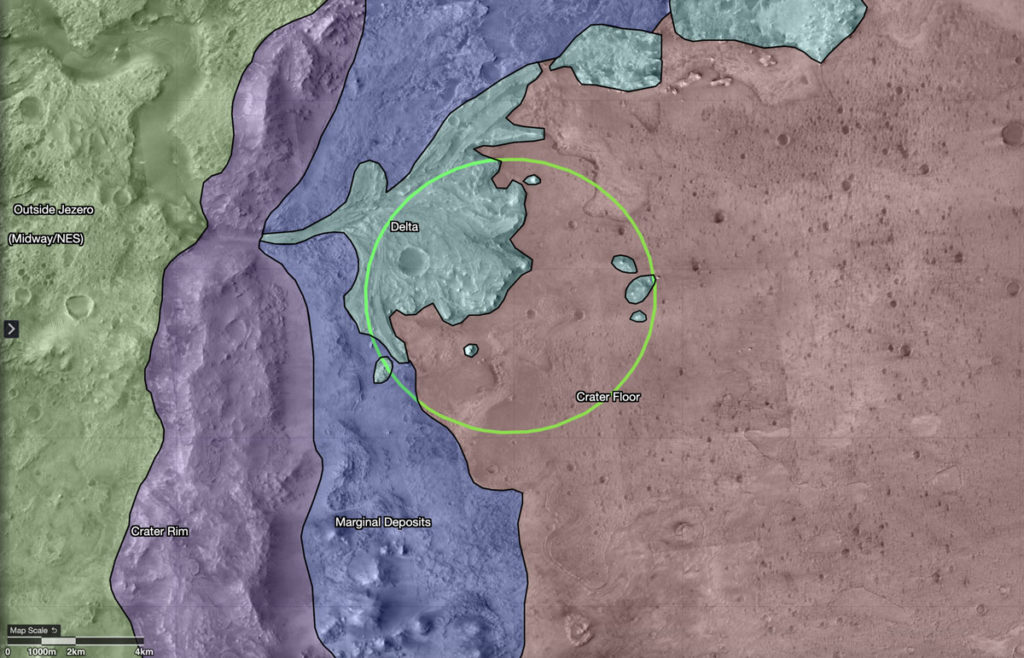 A map showing regions in and around Jezero Crater on Mars, the landing site of NASA's Perseverance rover on its mission to Mars.