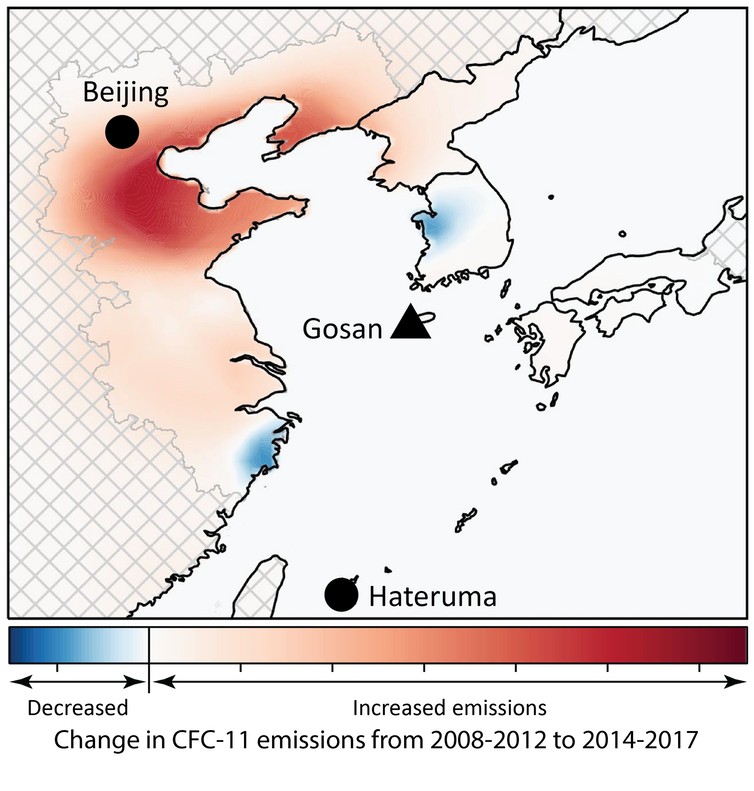 A map showing where CFC emissions were centralised and where the air monitoring stations in Japan and South Korea were.