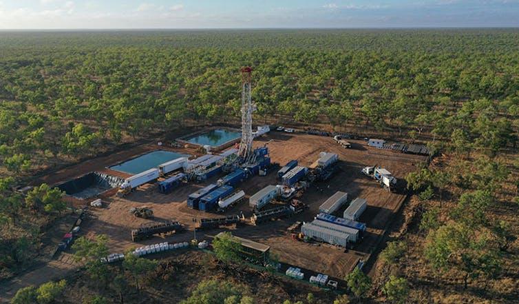Aerial photo of work site, Betaloo Basin, in remote Australia.