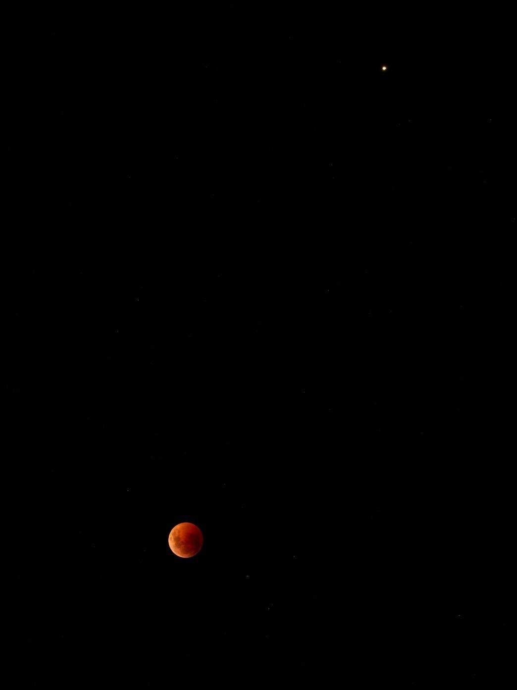 total lunar eclipse in night sky