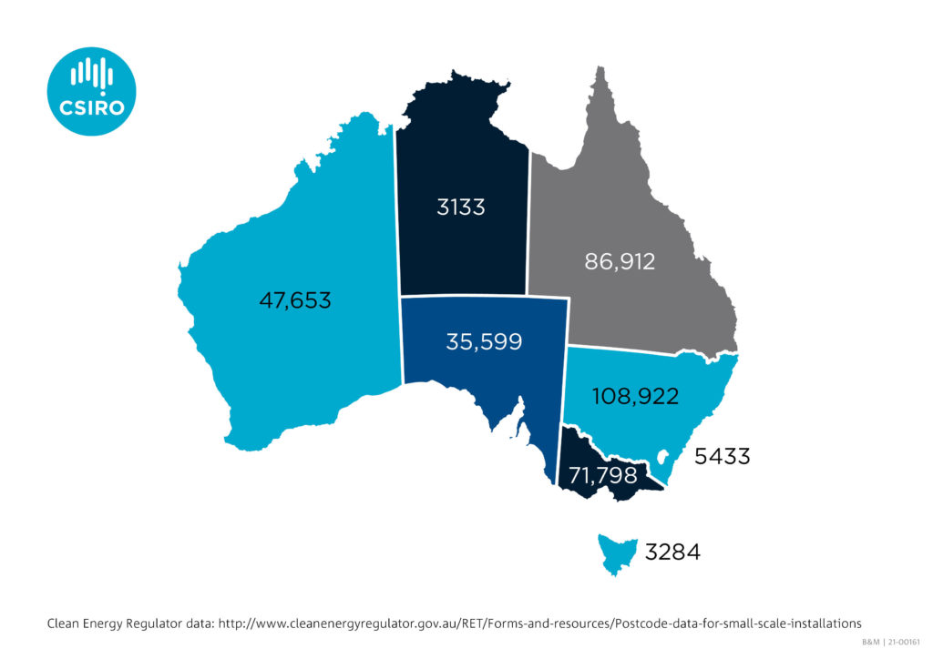 An infographic of Australia showing where solar PV installation is occuring.