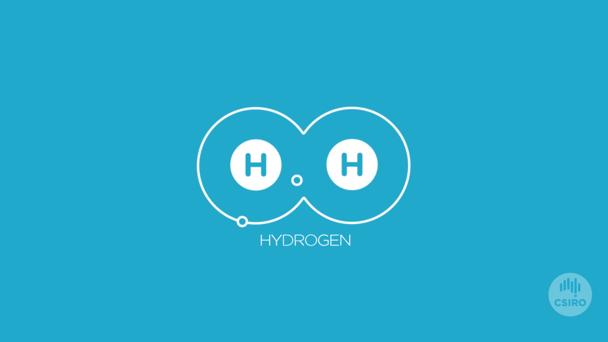 Blue infographic of two hydrogen atoms