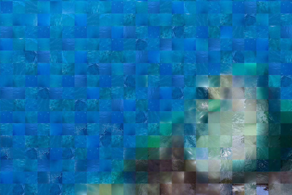 Blue, green and brown pixelated image of water.