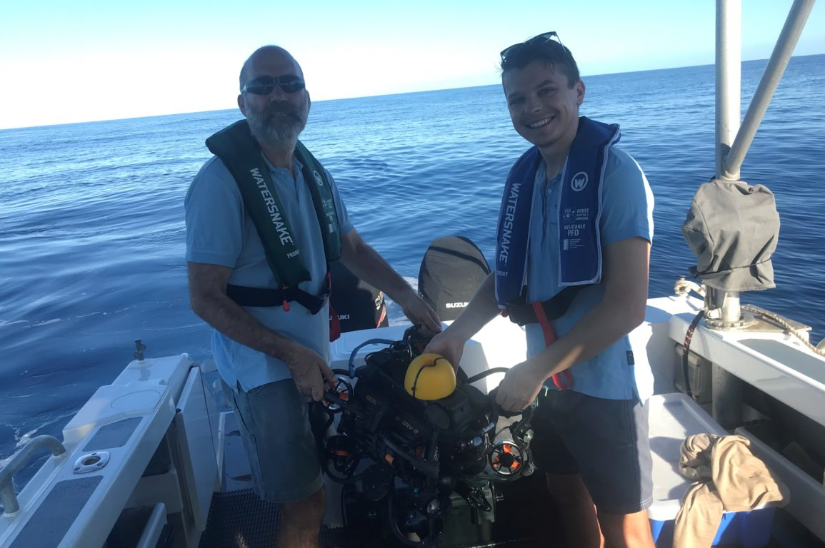 Logan Hellmrich and Nick Mortimer about to deploy an ROV to look at deepwater habitat
