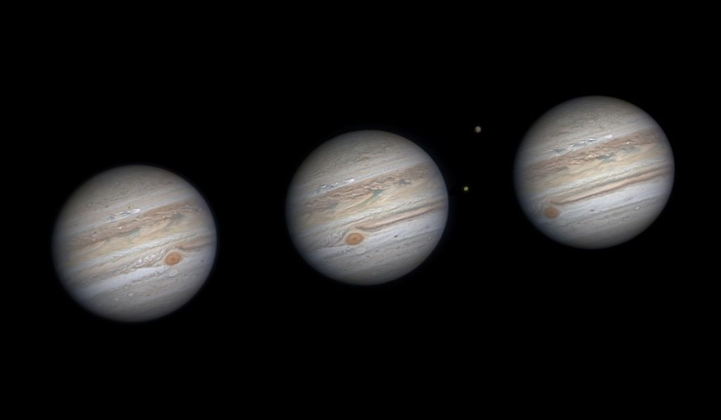 An astrophotography image of the planet Jupiter repeated three times.