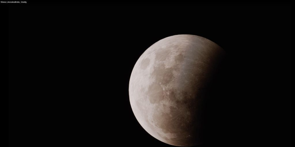 An astrophotography image of the moon during the lunar eclipse.