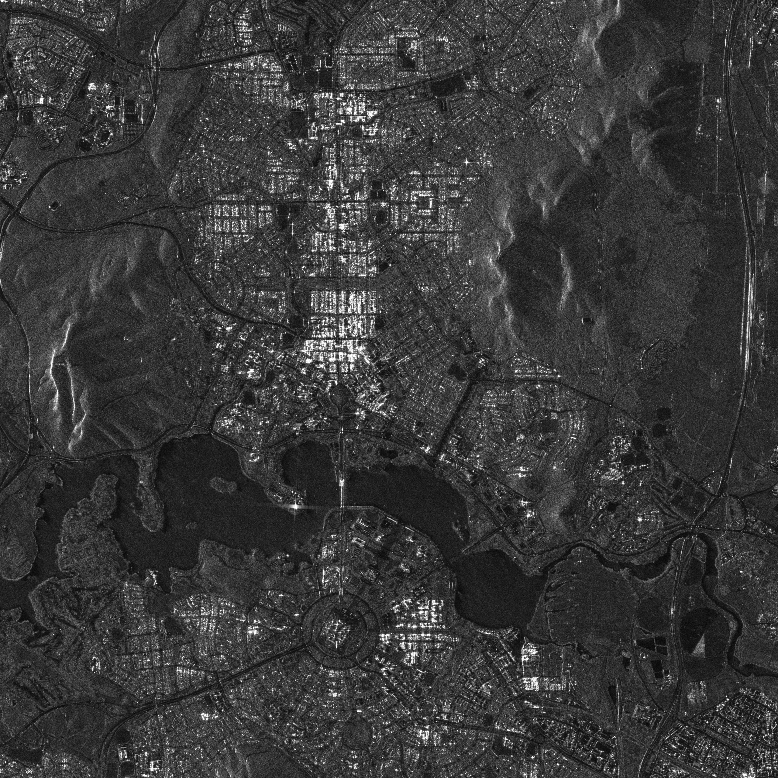 black and white aerial shot of Canberra